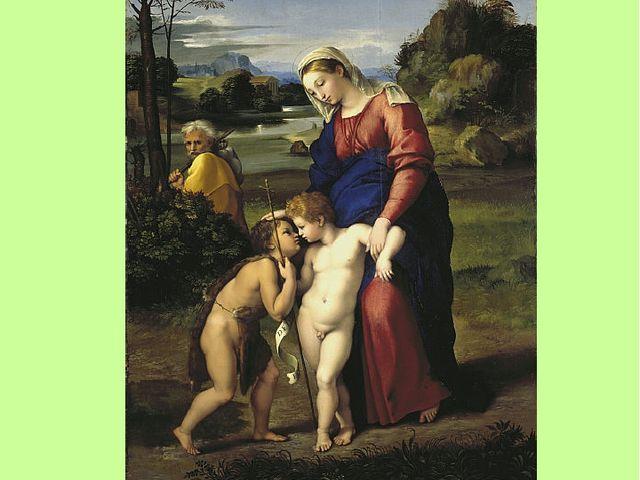 Прогулка Мадонны Датирована 1516-1518 годами. На картине изображены Дева Мари...