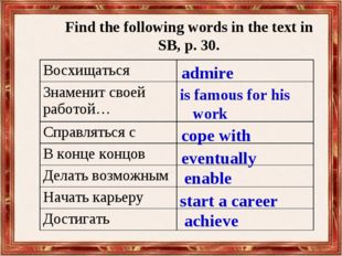 Find the following words in the text in SB, p. 30. admire is famous for his w