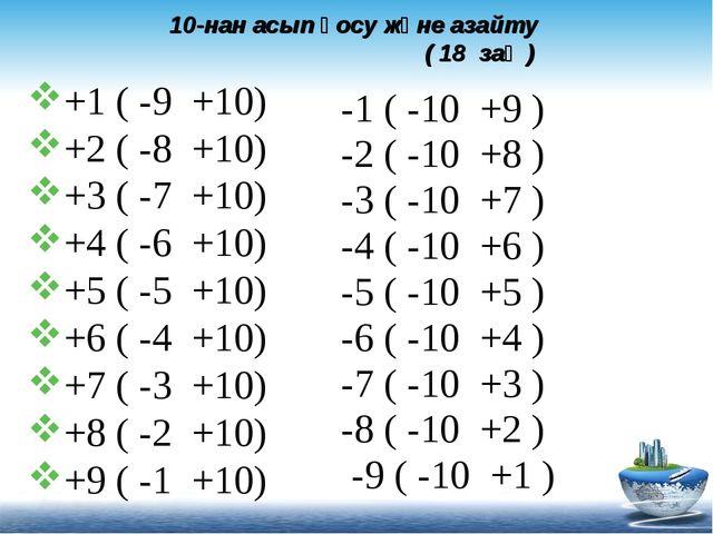 10-нан асып қосу және азайту ( 18 заң ) +1 ( -9 +10) +2 ( -8 +10) +3 ( -7 +10...
