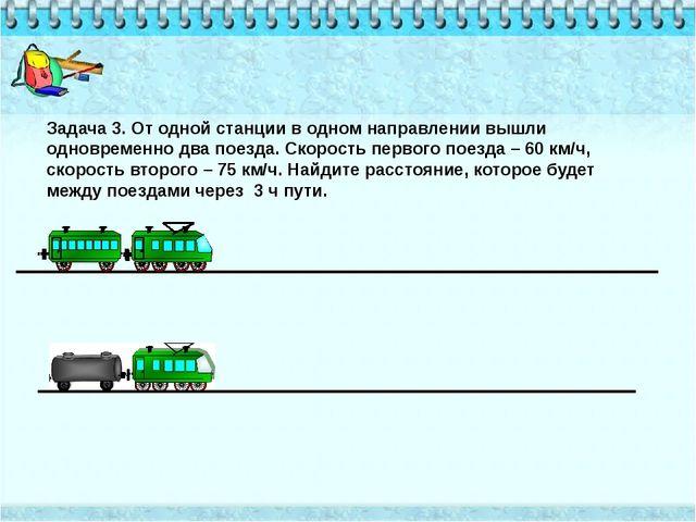 Задача 3. От одной станции в одном направлении вышли одновременно два поезда...