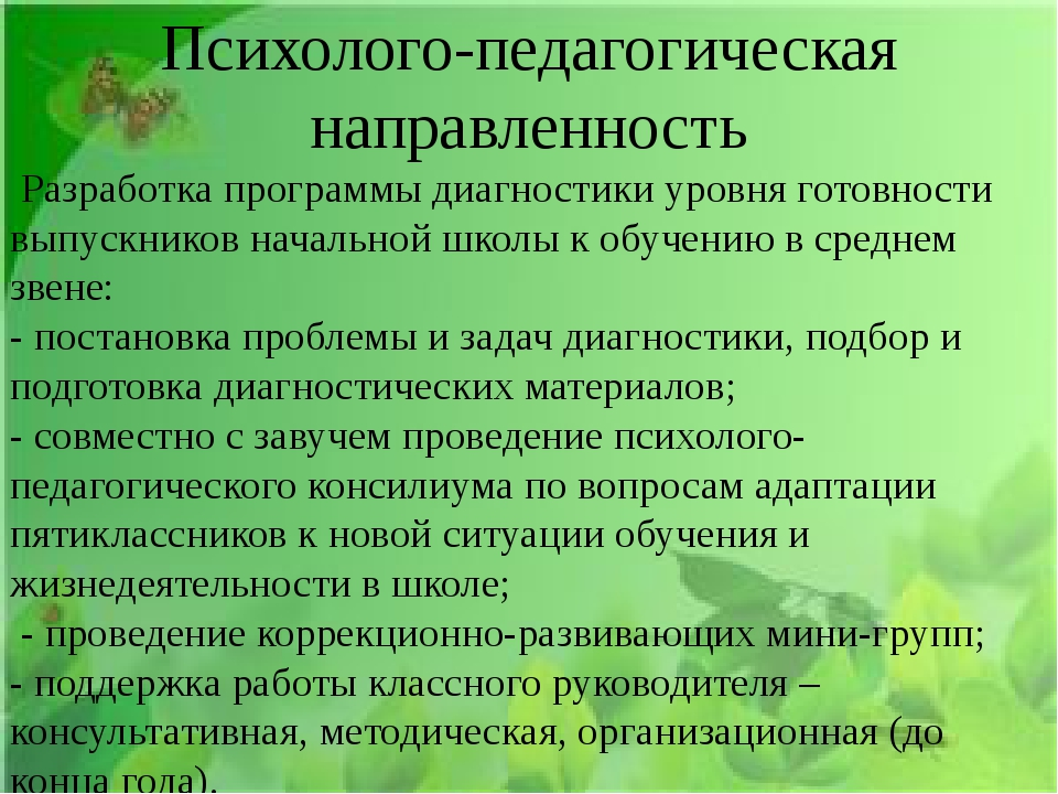 Психолого-педагогическая направленность Разработка программы диагностики у...