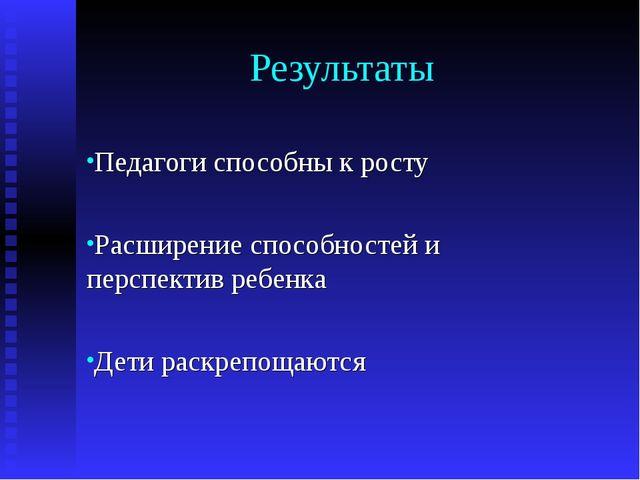 Результаты Педагоги способны к росту Расширение способностей и перспектив реб...