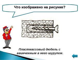 Что изображено на рисунке? Пластмассовый дюбель с ввинченным в него шурупом.