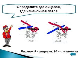 Определите где лицевая, где изнаночная петля Рисунок 9 – лицевая, 10 – изнано