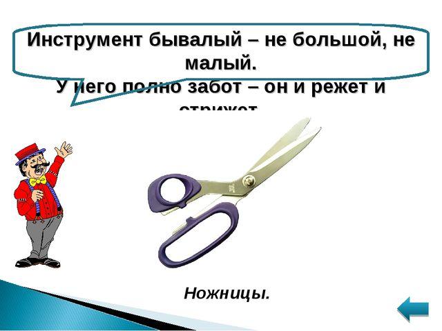 Инструмент бывалый – не большой, не малый. У него полно забот – он и режет и...