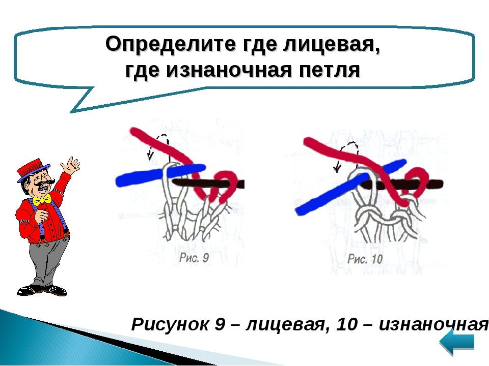 Определите где лицевая, где изнаночная петля Рисунок 9 – лицевая, 10 – изнано...
