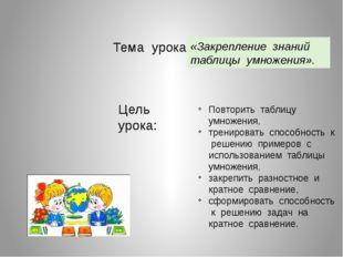Тема урока: «Закрепление знаний таблицы умножения». Цель урока: Повторить таб
