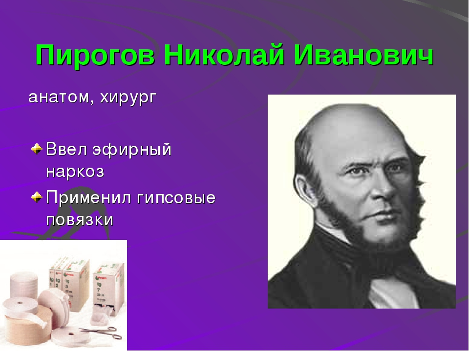 Пирогов Николай Иванович анатом, хирург Ввел эфирный наркоз Применил гипсовые...