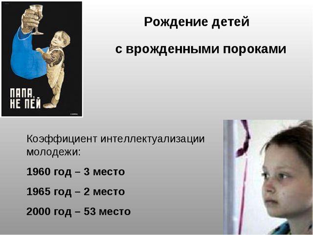 Рождение детей с врожденными пороками Коэффициент интеллектуализации молодежи...