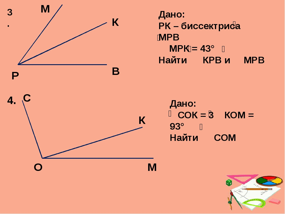3. Р М К В Дано: РК – биссектриса МРВ МРК = 43° Найти КРВ и МРВ 4. С О К М Да...