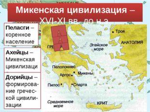 Микенская цивилизация – XVI-XI вв. до н.э. Пеласги – коренное население Ахейц
