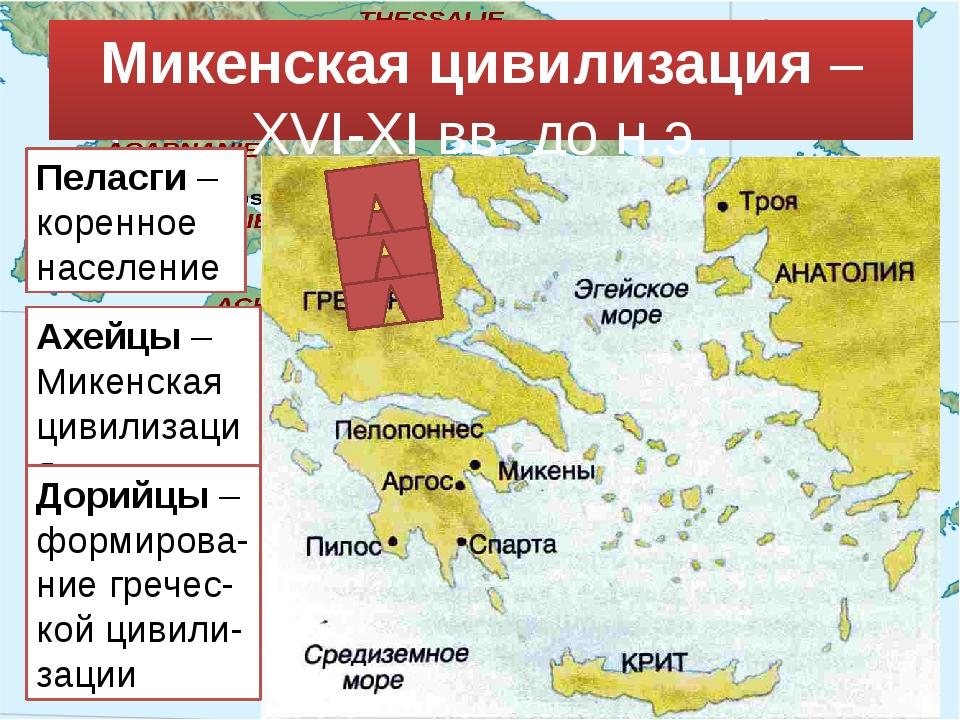 Микенская цивилизация – XVI-XI вв. до н.э. Пеласги – коренное население Ахейц...