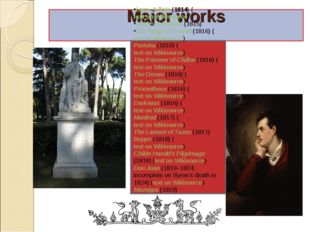 Major works Lara, A Tale (1814) (text on Wikisource) Hebrew Melodies (1815) T