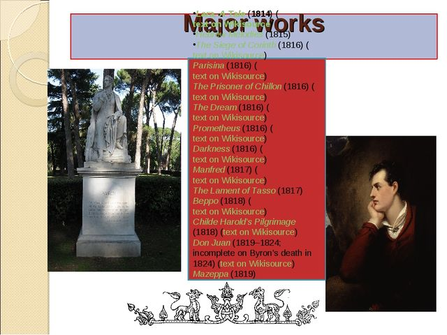 Major works Lara, A Tale (1814) (text on Wikisource) Hebrew Melodies (1815) T...