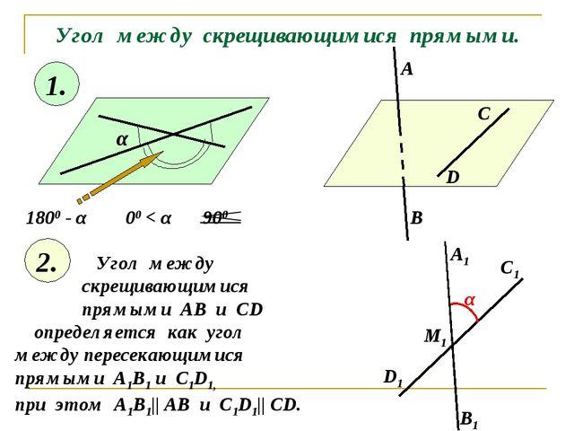 Угол между скрещивающимися прямыми. α 1800 - α 00 < α 900 1. 2. Угол между ск...