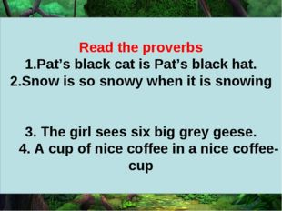 Read the proverbs Pat's black cat is Pat's black hat. Snow is so snowy when