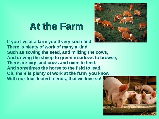 At the Farm If you live at a farm you'll very soon find There is plenty of w...