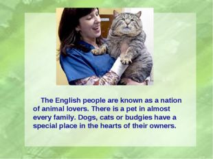 The English people are known as a nation of animal lovers. There is a pet in