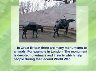 In Great Britain there are many monuments to animals. For example in London.