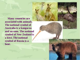 Many countries are associated with animals. The national symbol of Australia