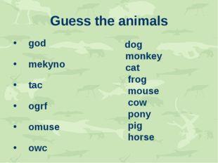 Guess the animals god mekyno tac ogrf omuse owc ypon ipg sohre dog monkey cat