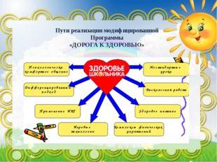 Пути реализации модифицированной Программы «ДОРОГА К ЗДОРОВЬЮ»