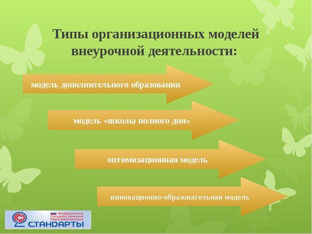 Типы организационных моделей внеурочной деятельности: модель дополнительного...