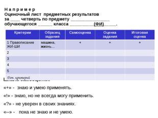 Н а п р и м е р Оценочный лист предметных результатов за ____ четверть по пре