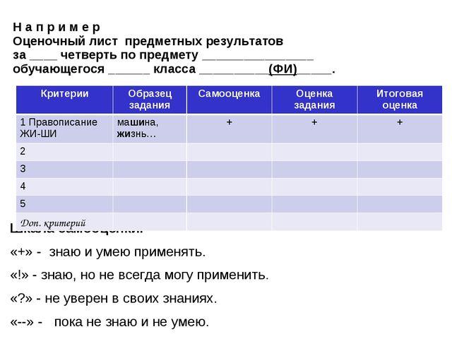 Н а п р и м е р Оценочный лист предметных результатов за ____ четверть по пре...