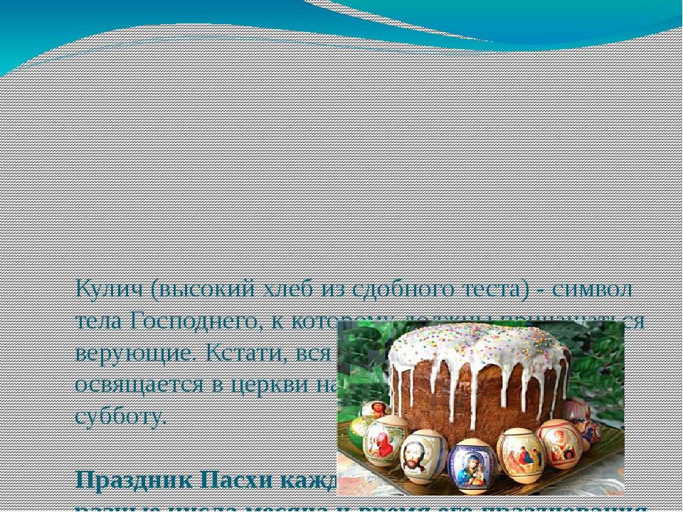 Кулич (высокий хлеб из сдобного теста) - символ тела Господнего, к которому д...
