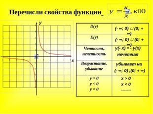 у(- х) = - у(х) x > 0 x < 0 ------- убывает на Перечисли свойства функции х