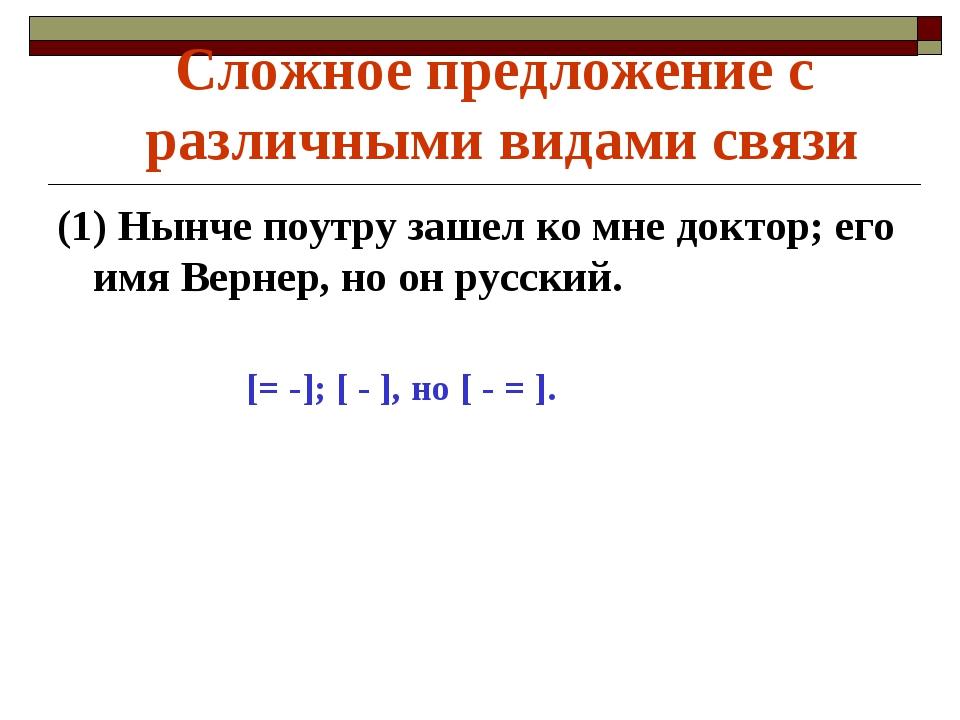 (1) Нынче поутру зашел ко мне доктор; его имя Вернер, но он русский. [= -...