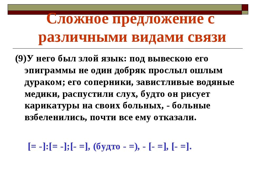 (9)У него был злой язык: под вывескою его эпиграммы не один добряк прослыл ош...