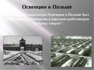 Освенцим в Польше Фашистский концлагерь Освенцим в Польше был превращен гитле