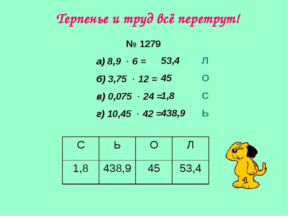 № 1279 а) 8,9  6 = б) 3,75  12 = в) 0,075  24 = г) 10,45  42 = 53,4 45 1...