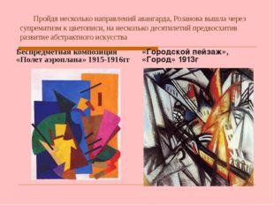 Пройдя несколько направлений авангарда, Розанова вышла через супрематизм к ц