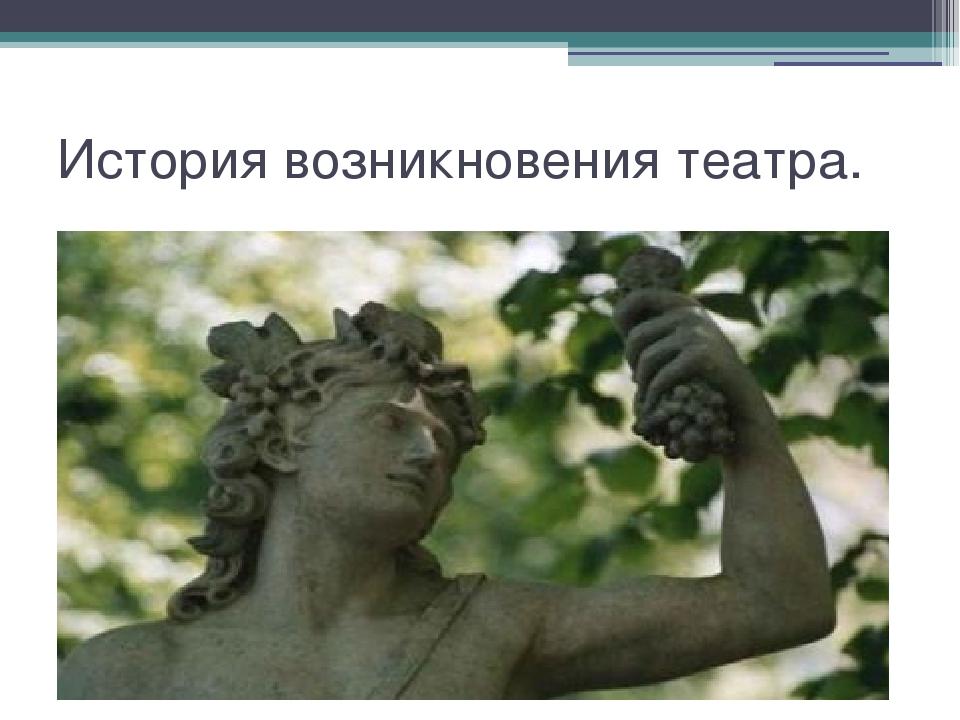 История возникновения театра.