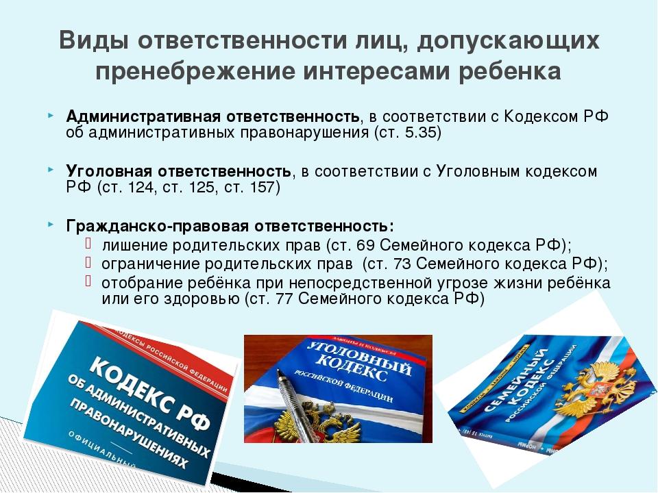 Административная ответственность, в соответствии с Кодексом РФ об администрат...