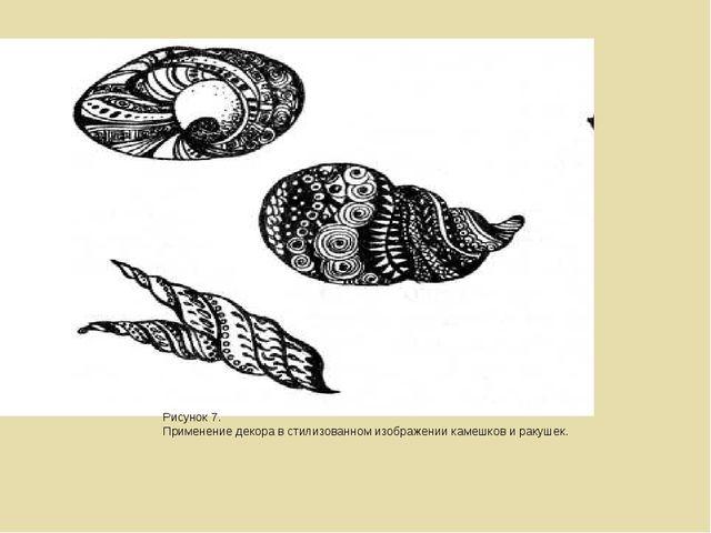 Рисунок 7. Применение декора в стилизованном изображении камешков и ракушек.