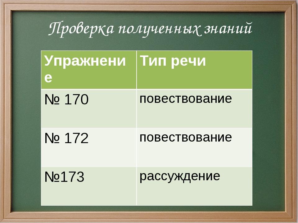 Проверка полученных знаний УпражнениеТип речи № 170 повествование № 172 по...