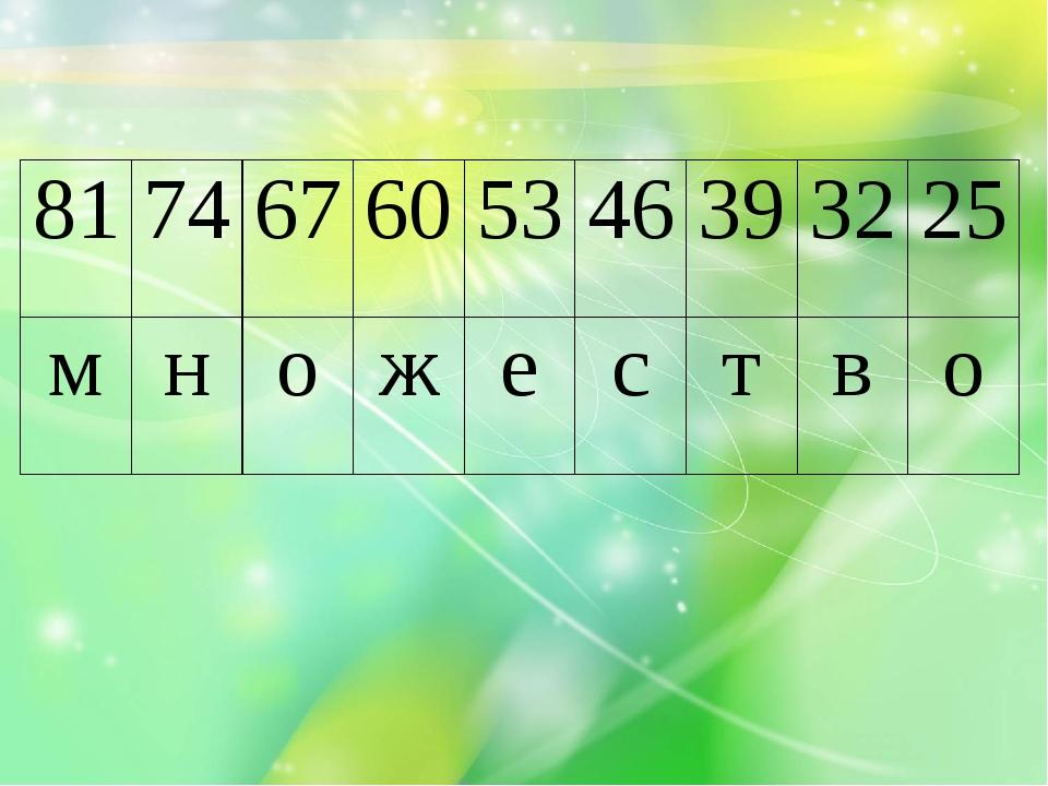 81 74 67 60 53 46 39 32 25 м н о ж е с т в о