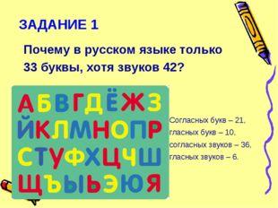 ЗАДАНИЕ 1 Почему в русском языке только 33 буквы, хотя звуков 42? Согласных б