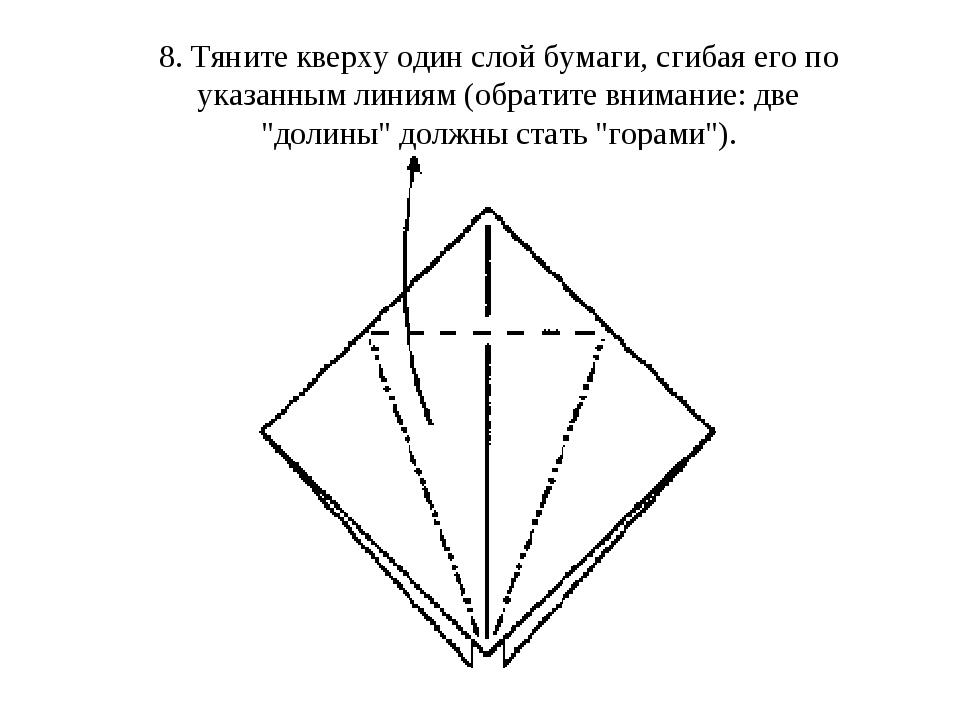 8. Тяните кверху один слой бумаги, сгибая его по указанным линиям (обратите в...