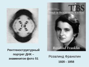 Розалинд Франклин Рентгеноструктурный портрет ДНК – знаменитое фото 51 1920 -