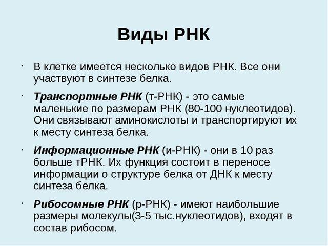 Виды РНК В клетке имеется несколько видов РНК. Все они участвуют в синтезе б...