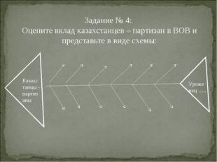 Задание № 4: Оцените вклад казахстанцев – партизан в ВОВ и представьте в виде