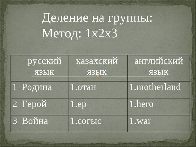 Деление на группы: Метод: 1х2х3 русский языкказахский язык английский язык...