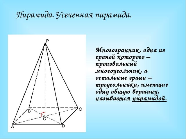 Пирамида. Усеченная пирамида. Многогранник, одна из граней которого – произво...