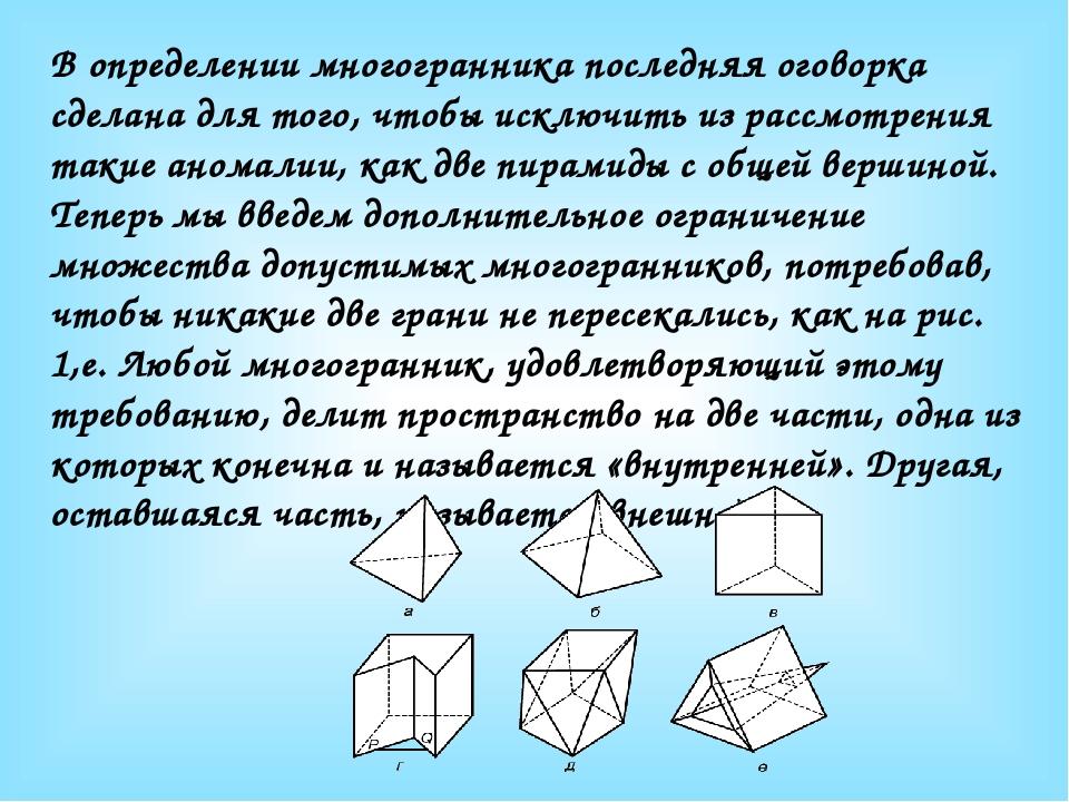 В определении многогранника последняя оговорка сделана для того, чтобы исключ...