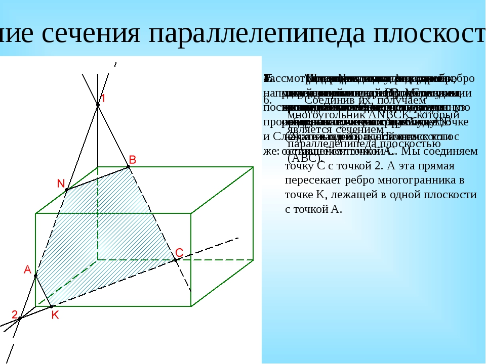 6.Соединив их, получаем многоугольник ANBCK, который является сечением парал...